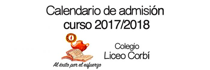Calendario de admisión 2017- 2018